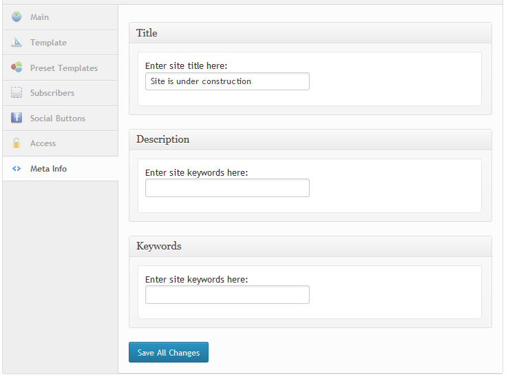 Coming Soon Meta Inforamtion (SEO option)