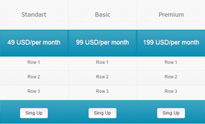 clearlight web pricing tables
